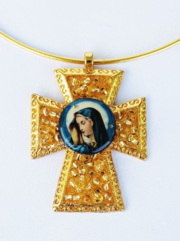 Gargantilla, chocker cruz virgen azul